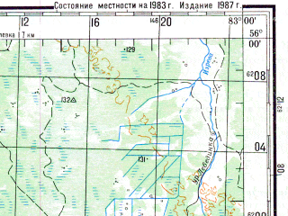 Reduced fragment of topographic map ru--gs--200k--n44-05--N056-00_E082-00--N055-20_E083-00; towns and cities Boyarka