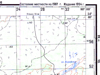 Reduced fragment of topographic map ru--gs--200k--n44-14--N054-40_E079-00--N054-00_E080-00; towns and cities Travnoye, Baklushi, Dovolnoye
