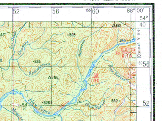Reduced fragment of topographic map ru--gs--200k--n45-16--N054-40_E087-00--N054-00_E088-00; towns and cities Osinovoye Pleso, Ust-naryk