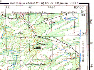 Reduced fragment of topographic map ru--gs--200k--n45-19--N054-00_E084-00--N053-20_E085-00; towns and cities Sorokino, Zalesovo, Zarinskaya, Kosikha, Novopovalikha