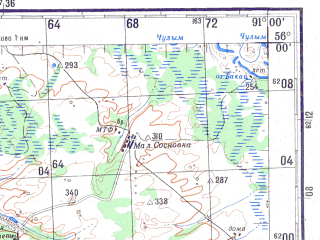 Reduced fragment of topographic map ru--gs--200k--n46-01--N056-00_E090-00--N055-20_E091-00; towns and cities Krasnaya Sopka, Petropavlovka
