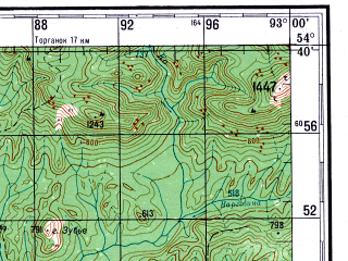 Reduced fragment of topographic map ru--gs--200k--n46-15--N054-40_E092-00--N054-00_E093-00; towns and cities Idrinskoye, Malyye Knyshi, Yekaterinovka