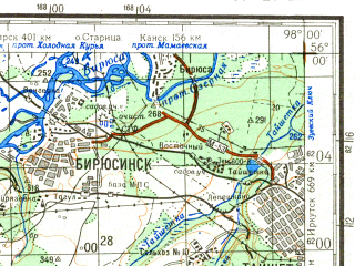 Reduced fragment of topographic map ru--gs--200k--n47-02--N056-00_E097-00--N055-20_E098-00; towns and cities Tayshet, Biryusinsk, Biryusa, Shelekhovo