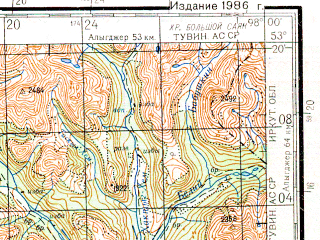 Reduced fragment of topographic map ru--gs--200k--n47-26--N053-20_E097-00--N052-40_E098-00; towns and cities Chazylar
