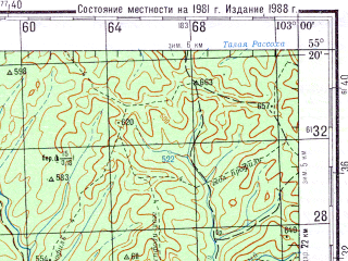 Reduced fragment of topographic map ru--gs--200k--n48-07--N055-20_E102-00--N054-40_E103-00; towns and cities Naratay