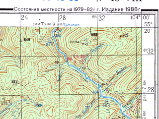Reduced fragment of topographic map ru--gs--200k--n48-08--N055-20_E103-00--N054-40_E104-00; towns and cities Kocherga, Podvolochnoye, Atalanka