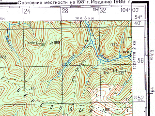 Reduced fragment of topographic map ru--gs--200k--n48-14--N054-40_E103-00--N054-00_E104-00; towns and cities Ust'-uda, Anosovo, Mikhaylovskaya, Novaya Uda