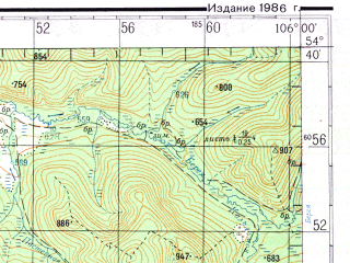 Reduced fragment of topographic map ru--gs--200k--n48-16--N054-40_E105-00--N054-00_E106-00; towns and cities Kelora, Tolmacheva