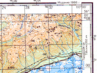 Reduced fragment of topographic map ru--gs--200k--n49-02--N056-00_E109-00--N055-20_E110-00; towns and cities Baykalskoye, Nizhneangarsk, Tyya