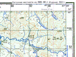 Reduced fragment of topographic map ru--gs--200k--n50-15--N054-40_E116-00--N054-00_E117-00