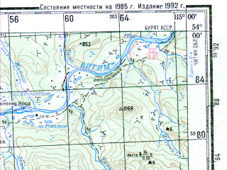 Reduced fragment of topographic map ru--gs--200k--n50-19--N054-00_E114-00--N053-20_E115-00; towns and cities Bugunda