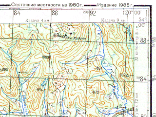 Reduced fragment of topographic map ru--gs--200k--n50-24--N054-00_E119-00--N053-20_E120-00; towns and cities Mogocha, Klyuchevskiy, Davenda, Kislyy Klyuch