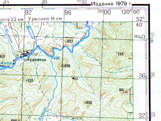 Reduced fragment of topographic map ru--gs--200k--n50-36--N052-40_E119-00--N052-00_E120-00; towns and cities Kurleya
