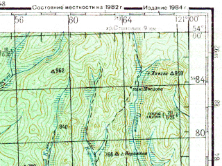 Reduced fragment of topographic map ru--gs--200k--n51-19--N054-00_E120-00--N053-20_E121-00; towns and cities Amazar, Chador
