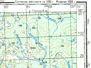 Reduced fragment of topographic map ru--gs--200k--n52-07--N055-20_E126-00--N054-40_E127-00; towns and cities Dozhdlivyy, Unakha