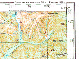 Reduced fragment of topographic map ru--gs--200k--n53-09--N055-20_E134-00--N054-40_E135-00