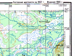Reduced fragment of topographic map ru--gs--200k--n53-15--N054-40_E134-00--N054-00_E135-00