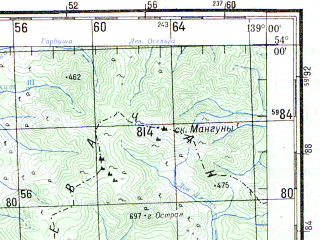 Reduced fragment of topographic map ru--gs--200k--n54-19--N054-00_E138-00--N053-20_E139-00 in area of Nikolaja Zaliv