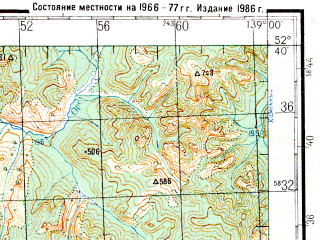 Reduced fragment of topographic map ru--gs--200k--n54-31--N052-40_E138-00--N052-00_E139-00