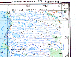Reduced fragment of topographic map ru--gs--200k--n54-34--N052-40_E141-00--N052-00_E142-00; towns and cities Lazarev, Uarke