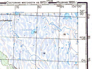 Reduced fragment of topographic map ru--gs--200k--n56-06--N056-00_E155-00--N055-20_E156-00; towns and cities Icha, Ichinskiy