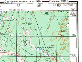 Reduced fragment of topographic map ru--gs--200k--n57-04--N056-00_E159-00--N055-20_E160-00; towns and cities Tolbachik, Bondarka, Krapivnaya