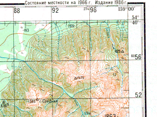 Reduced fragment of topographic map ru--gs--200k--n57-15--N054-40_E158-00--N054-00_E159-00; towns and cities Pushchino, Sheromy