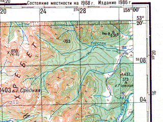 Reduced fragment of topographic map ru--gs--200k--n57-26--N053-20_E157-00--N052-40_E158-00; towns and cities Apacha, Dalniy, Malki