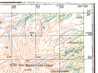 Reduced fragment of topographic map ru--gs--200k--n57-27--N053-20_E158-00--N052-40_E159-00; towns and cities Petropavlovsk-kamchatskiy, Yelizovo, Mokhovaya, Rybachiy, Koryaki