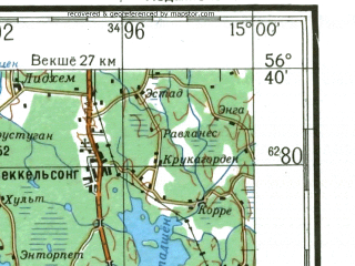 Reduced fragment of topographic map ru--gs--200k--o33-33--N056-40_E014-00--N056-00_E015-00 in area of Ivosjon, Immeln, L. Mien; towns and cities Kristianstad, Karlshamn, Morrum, Olofstrom, Osby