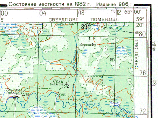 Reduced fragment of topographic map ru--gs--200k--o41-11--N059-20_E064-00--N058-40_E065-00; towns and cities Unzhe-pavinskaya