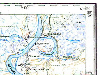 Reduced fragment of topographic map ru--gs--200k--o42-09--N059-20_E068-00--N058-40_E069-00; towns and cities Uvat, Gornoslinkino, Mishino, Novoya