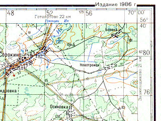 Reduced fragment of topographic map ru--gs--200k--o42-34--N056-40_E069-00--N056-00_E070-00; towns and cities Ishim, Butusovo, Mizonovo, Prokutkino