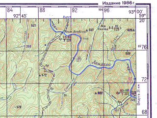 Reduced fragment of topographic map ru--gs--200k--o46-09--N059-20_E092-00--N058-40_E093-00