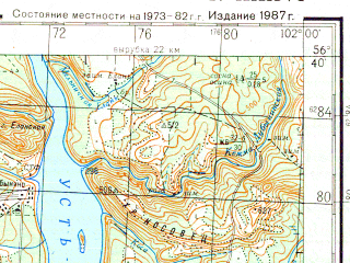 Reduced fragment of topographic map ru--gs--200k--o47-36--N056-40_E101-00--N056-00_E102-00; towns and cities Bratsk, Vikhorevka, Chekanovskiy, Osinovka, Porozhskiy