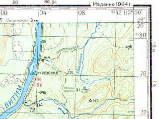 Reduced fragment of topographic map ru--gs--200k--o49-11--N059-20_E112-00--N058-40_E113-00 in area of Cuja; towns and cities Vorontsovka, Chuya, Rysya