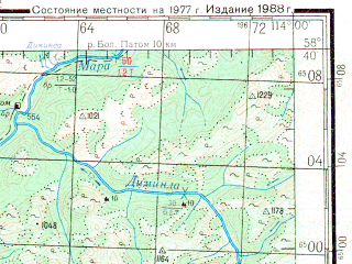 Reduced fragment of topographic map ru--gs--200k--o49-18--N058-40_E113-00--N058-00_E114-00; towns and cities Vitimskiy, Kolotovka