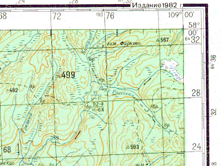 Reduced fragment of topographic map ru--gs--200k--o49-19--N058-00_E108-00--N057-20_E109-00; towns and cities Kirensk, Alekseyevsk, Alymovka