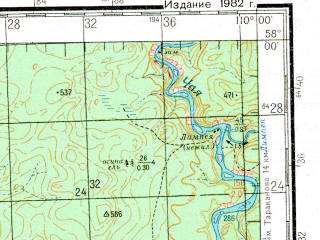 Reduced fragment of topographic map ru--gs--200k--o49-20--N058-00_E109-00--N057-20_E110-00