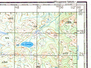 Reduced fragment of topographic map ru--gs--200k--o49-22--N058-00_E111-00--N057-20_E112-00; towns and cities Gorno-chuyskiy