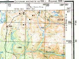 Reduced fragment of topographic map ru--gs--200k--o50-36--N056-40_E119-00--N056-00_E120-00