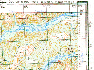 Reduced fragment of topographic map ru--gs--200k--o51-31--N056-40_E120-00--N056-00_E121-00