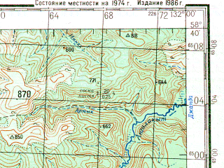 Reduced fragment of topographic map ru--gs--200k--o52-18--N058-40_E131-00--N058-00_E132-00