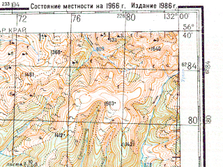 Reduced fragment of topographic map ru--gs--200k--o52-36--N056-40_E131-00--N056-00_E132-00