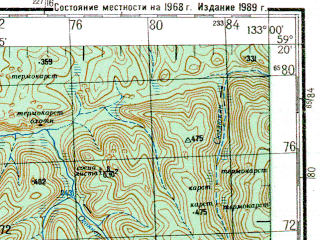 Reduced fragment of topographic map ru--gs--200k--o53-07--N059-20_E132-00--N058-40_E133-00