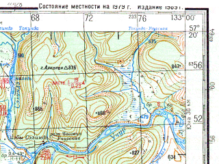 Reduced fragment of topographic map ru--gs--200k--o53-25--N057-20_E132-00--N056-40_E133-00; towns and cities Selingde