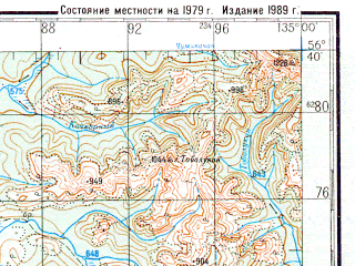 Reduced fragment of topographic map ru--gs--200k--o53-33--N056-40_E134-00--N056-00_E135-00