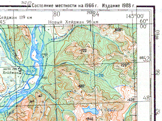 Reduced fragment of topographic map ru--gs--200k--o55-01--N060-00_E144-00--N059-20_E145-00; towns and cities Inya, Staryy Kheydzhan