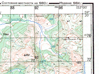 Reduced fragment of topographic map ru--gs--200k--o56-09--N059-20_E152-00--N058-40_E153-00; towns and cities Bugurchan, Nyurchan, Sivuch