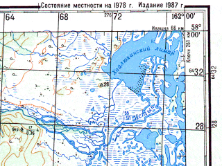Reduced fragment of topographic map ru--gs--200k--o57-24--N058-00_E161-00--N057-20_E162-00; towns and cities Verkhne-ozernaya